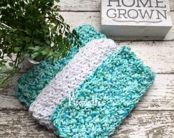 Handmade Kitchen Dish Cloths Aqua Blue Turquoise White Coastal Wash Cloth Crochet Cotton Dishcloths Set of 3 ( 2 Aqua 1 White )