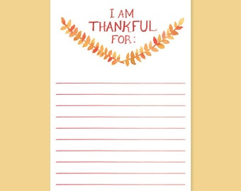 I Am Thankful For Cards - Set of 10 - Thanksgiving Cards, Thankful for fill in the blank, Giving Thanks Cards, Thanksgiving Table Cards,