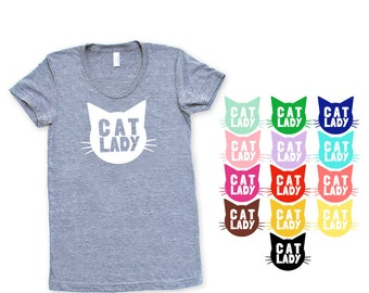 Cat Lady Triblend Heather Grey - Crazy Cat Lady, Cat Obsessed, Animal Lover, Gift for Her