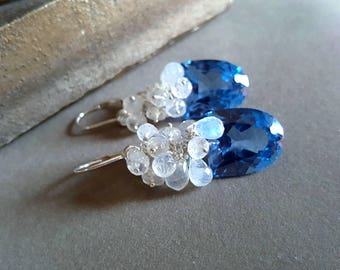 Spring Sale 15% London Blue Topaz with Blue Flash Moonstone Gemstone Cluster Earrings Something Blue Bridal Earrings Gift For Her