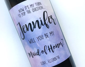 Will You Be My Bridesmaid Standard Wine Labels- Mini Champagne- Weatherproof- Watercolor