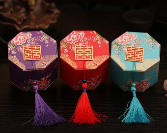 20 DIY Chinese Wedding candy box with tassel, paper wedding favor box with tassel, double happiness treat box with tassel, wedding favor