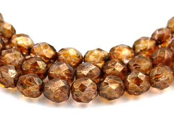 8mm Transparent Gold Smokey Topaz Luster Czech Fire Polished Glass Faceted Round Beads- 25 Pieces
