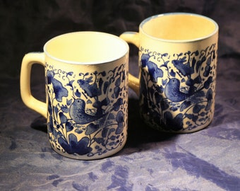 Hand Painted Floral & Bird Mugs * Set of 2