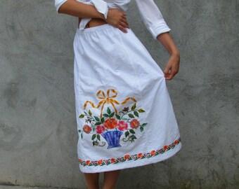 recycled embroidered ... vintage skirt ... boho shabby Chic skirt S/M/L