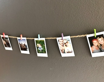 5' Twine and Mini Clothes Pin Photo Wall Display. Multi-Color.