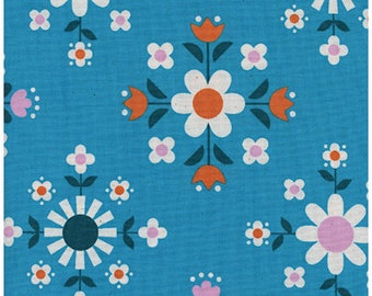Florametry in Bright Blue - Welsummer by Kim Kight - Cotton + Steel fabric