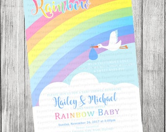 Rainbow Baby Shower Invitation