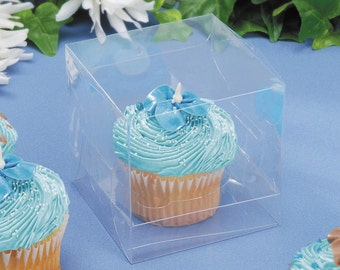 """12 Pc - 3-1/2"""" Clear Cupcake Box with Clear Insert 12 Pieces per Package"""