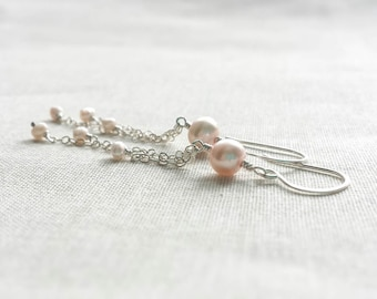 Sterling Silver and Blush Freshwater Pearl Bridal Earrings: Light Pink Pearl Dangle Drop Earrings for Bride, Bridesmaids Modern Valentine