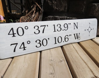 Latitude Longitude GPS Coordinates Sign - Whitewashed Wood, Nautical, Beach, Rustic, Custom Wood Sign