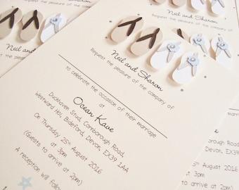 Personalised Handmade Flip Flops Beach Wedding Invitation Sample