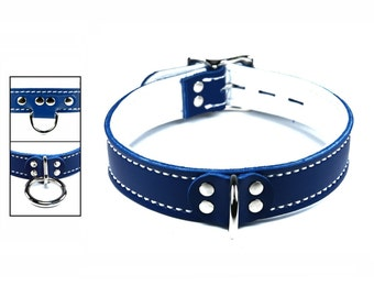 Blue Collar with White Leather Lining, Locking Buckle and Your Choice of Front Ring and Stitch Color