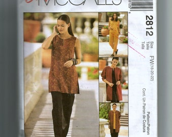McCall's Misses' Unlined Jacket, Top, in Two Lengths and Pull On Pants Pattern 2812