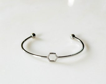 Silver Hexagon Bracelet / Hexagon Bracelet / Honeycomb Silver Bracelet / Bridesmaids gifts /  Layering Bracelet