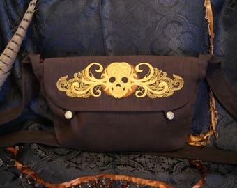 Big shoulder bag-huge shoulder bag-Baroque skull