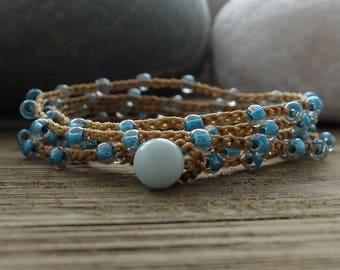 Beach Boho Aqua Blue Wrap Bracelet, Beach Boho Chic, aqua blue beach boho, 5 wrap bracelet, beaded crochet bracelet necklace, beach boho