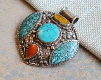 Tibetan Pendant, Turquoise Teardrop, Pendant, Handmade, Coral, Amber Resin, Nepalese Pendant, Metal Pendant, Ethnic Pendant, FOZ17-0930A