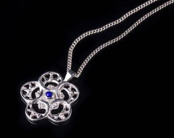 Sterling Silver Medallion, Geometric Flower Pendant, Lapis Lazuli Pendant, Large Silver Pendant, Sculpted Silver Pendant, Geometric Necklace