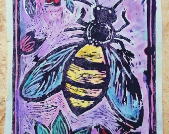 Bee and Flowers hand made print