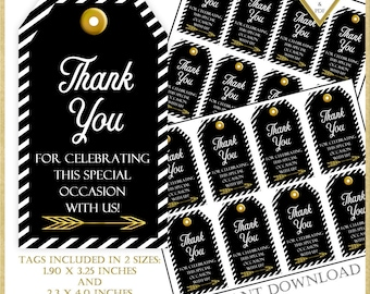 SALE:Thank You Tags, Party favor tags, Graduation Thank You Tags, Black and Gold Tags, Printable Tags, 60th Party Favor Tag, #92416