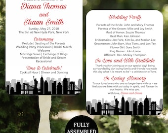 New York Skyline Wedding Program Fans Printable or Printed/Assembled with FREE Shipping ANY Color - New York Skyline Collection