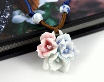 Handmade Porcelain Flower Necklace (Tri-Color Rose)