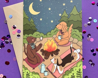 Puppy Camping - Greeting Card- Animal Card- Dog - Cocker Spaniel -Beagle - Labrador - forest - Hello Lola Co.