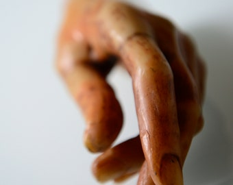 Antique large wax hand, artist model display hand, early XX century, Italy