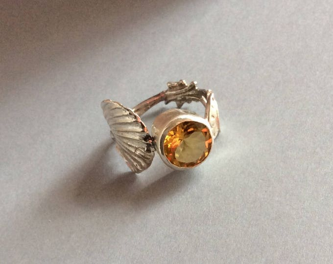 Sterling Silver Salt Spoon Ring with Citrine Stone