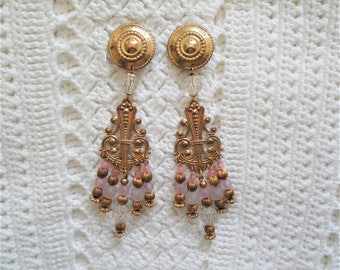 Lovely Lilac Gold Tone Chandelier Beaded Clip On Long Earrings