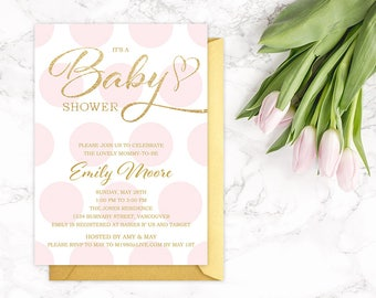 pink gold baby shower invitation pink gold glitter polka dots printable modern shower digital invite customizable
