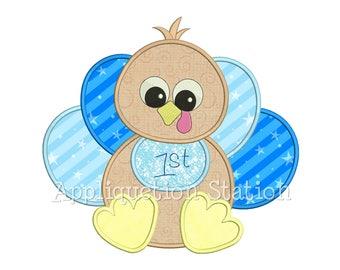 Baby Boy Turkey Applique Machine Embroidery Design Thanksgiving first 1st INSTANT DOWNLOAD