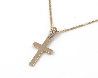 Gold cross pendant etsy gold cross necklace 14k gold cross pendant necklace solid gold cross necklace 14k aloadofball Image collections