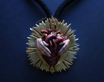 Glorious heart necklace. Gothic. Gothic necklace. Human heart. Human heart necklace. Anatomy. heart.