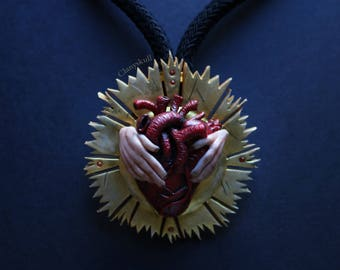 Human heart. Gothic. Gothic necklace. Human heart necklace. Anatomy. heart. Creepy.