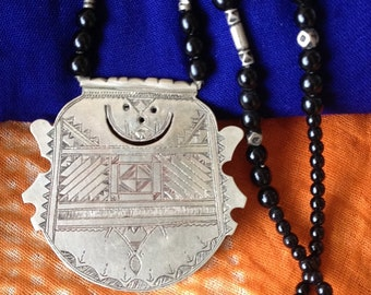 Old Tuareg Jewelry, Rare Tuareg Silver Pendant with Crescent Moon Symbol, Niger