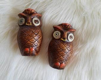 Vtg Owl Salt & Pepper Shaker Set, Tall Shakers