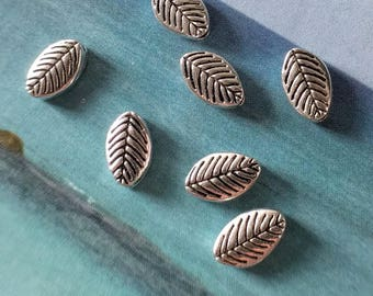 10 small simple leaf beads, silver tone, 9mm