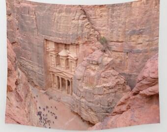 Petra Jordan Treasury Wall Tapestry, Petra Wall Art, Petra Photo Tapestry, Living Room Wall Art, Travel Art, Dorm
