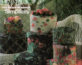 Uncut FABRIC & CHIPBOARD BANDBOXES Pattern Simplicity #8031 No-Sew Easy Basics 3 Sizes Round Oval Rectangular Feminine Masculine Designs