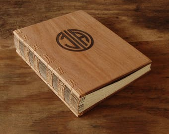 custom monogram logo engraved wood wedding or cabin guest book mahogany rustic fall anniversary gift  personalized journal  - made to order