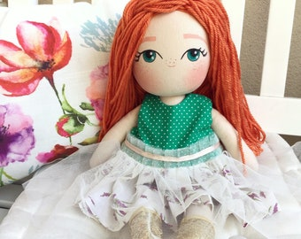 Handmade Cloth Doll - Red Hair Cloth Doll - Ginger Hair Rag Doll - Fabric Doll in Pastel Dress - Girl Gift Set