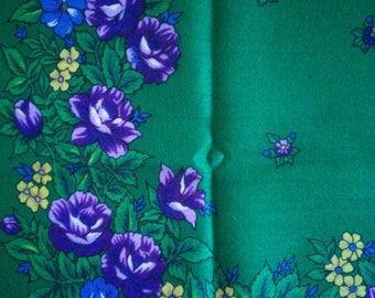 Green wool challis floral scarf // Russian style floral wool scarf, kelly green and bright violet, cozy cheery scarf