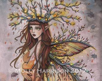 Fairy Art - Autumn Queen - Fine Art Print by Molly Harrison Fantasy Art 12 x 16