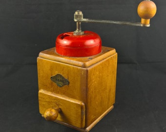 coffee grinder coffee-grinder manual grinder vintage grinder vintage coffee wooden grinder ha ha made in germany farmhouse cottage retro