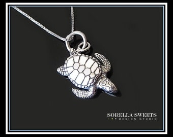Turtle Necklace, Silver Turtle, Sterling Turtle Charm, Sea Turtle Necklace, Tortoise Charm, Hawksbill Necklace, Animal Lover Necklace