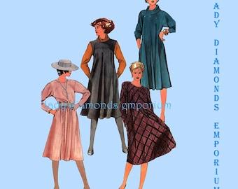 Simplicity 6540 Womens Pullover A-line Swing Dress Bias Tent Dress Jumper Cowl Option size 10 Bust 32 1/2 Vintage 80's Sew Pattern Uncut FF