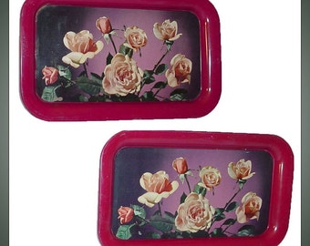 2 Vintage Dresser Vanity Trays Rose Motif