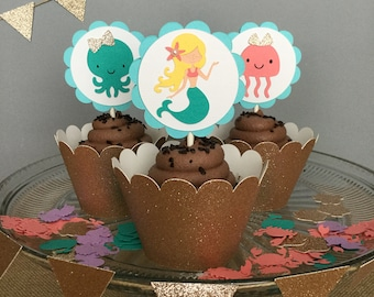 Mermaid Theme Cupcake Toppers / Under the Sea Cupcake Toppers / Mermaid Theme Baby Shower / Mermaid Theme Party Decorations